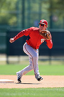 Washington Nationals second baseman Cody Dent (2) during practice before a minor league spring training game against the Atlanta Braves on March 26, 2014 at Wide World of Sports in Orlando, Florida.  (Mike Janes/Four Seam Images)