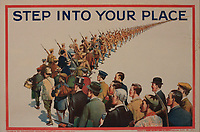 """BNPS.co.uk (01202) 558833<br /> Pic: Onslows/BNPS<br /> <br /> WW1 recruitment posters part of the poster sale """"Step into your Place""""<br /> <br /> An incredibly-rare poster that was the forerunner for the famous 'Your Country Wants You' World War One recruitment advert has been discovered. <br /> The poster, featuring Lord Kitchener pointing his finger, was a news stand advert for an edition of the magazine London Opinion in September 1914.<br /> Officials from the War Office spotted it and decided they wanted the same design for their nationwide recruitment campaign for young men to join the army."""