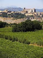 Village and Duomo of Orvieto, Italy, Romanesque-Gothic cathedral, view from across the valle