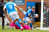 1st May 2021; Weston Homes Stadium, Peterborough, Cambridgeshire, England; English Football League One Football, Peterborough United versus Lincoln City; Sammie Szmodics of Peterborough United picks the ball up to hurry back for the kick off as Peterborough score their second goal (2-3)