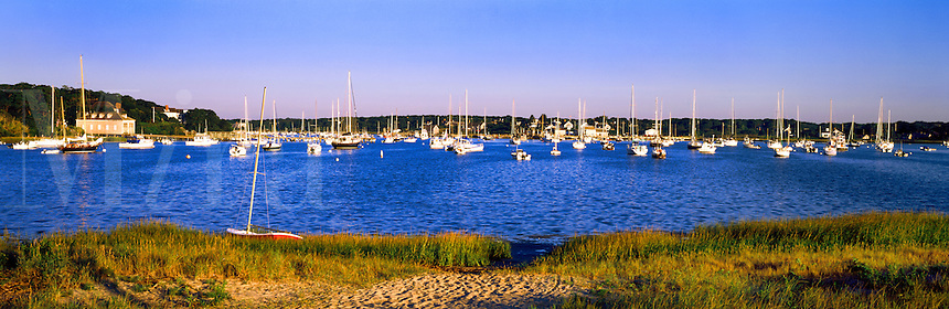 Boats anchored in Chatham Harbor.