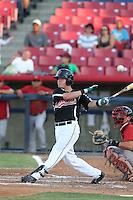Patrick Brady #11 of the Visalia Rawhide bats against the High Desert Mavericks at Heritage Field on July 19, 2014 in Adelanto, California. Visalia defeated High Desert, 10-9. (Larry Goren/Four Seam Images)