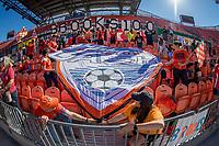 Houston, TX - Sunday April 14, 2019: 2019 NWSL regular season home opener between the Houston Dash and the Reign FC at BBVA Compass Stadium.
