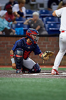 Danville Braves catcher Ricardo Rodriguez (49) awaits the pitch during a game against the Johnson City Cardinals on July 28, 2018 at TVA Credit Union Ballpark in Johnson City, Tennessee.  Danville defeated Johnson City 7-4.  (Mike Janes/Four Seam Images)