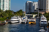 Ft. Lauderdale, Florida.  Boat Traffic on the New River.
