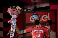 GC runner-up Damiano Caruso (ITA/Bahrain - Victorious) on the final podium in Milan<br /> <br /> 104th Giro d'Italia 2021 (2.UWT)<br /> Stage 21 (final ITT) from Senago to Milan (30.3km)<br /> <br /> ©kramon