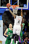 Real Madrid´s Kelvin Rivers and Unicaja´s Carlos Suarez during 2014-15 Liga Endesa match between Real Madrid and Unicaja at Palacio de los Deportes stadium in Madrid, Spain. April 30, 2015. (ALTERPHOTOS/Luis Fernandez)