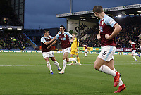 Burnley's Jack Cork (No.4) celebrates with team-mate Ashley Westwood after his shot was deflected by James Tarkowski (right) to provide the opening goal<br /> <br /> Photographer Rich Linley/CameraSport<br /> <br /> The Premier League - Burnley v Brighton and Hove Albion - Saturday 8th December 2018 - Turf Moor - Burnley<br /> <br /> World Copyright © 2018 CameraSport. All rights reserved. 43 Linden Ave. Countesthorpe. Leicester. England. LE8 5PG - Tel: +44 (0) 116 277 4147 - admin@camerasport.com - www.camerasport.com