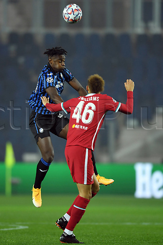 3rd November 2020; Bergamo, Lombardy, Italy. UEFA Champions League football, group stages, Atalanta versus Liverpool FC;  Duvan Zapata and Neco Williams challenge for a header