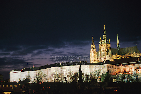 Saint Vitus's Cathedral in Prague Castle at dawn, Prague, Czech Republic, Europe