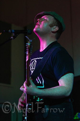 08 APR 2016 - STOWMARKET, GBR - Ben Brown on vocals for Superglu during a recording for BBC Introducing at the John Peel Centre for Creative Arts in Stowmarket, Suffolk, Great Britain (PHOTO COPYRIGHT © 2016 NIGEL FARROW, ALL RIGHTS RESERVED)