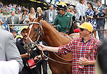 June 9, 2012. Kentucky Derby and Preakness winner I'll Have Another, who was scratched from the Belmont Stakes due to a tendon injury, leaves the winner's circle after a retirement ceremony in which trainer Doug O'Neill removed the colt's saddle for the last time. Belmont Park Race Track, Elmont, New York. ©Joan Fairman Kanes/Eclipsesportswire