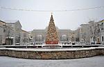 Bridge Street Town Centre Christmas Tree in snow on Christmas Day Dec. 25, 2010.  Bob Gathany Photographer