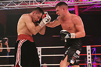 19th December 2020, Hamburg, Germany; Universal Boxing Promotion fight, Felix Sturm versus Timo Rost; A right cross from Sturm