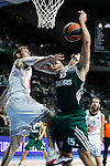 Basketball Real Madrid´s Nocioni (L) and Zalgiris Kaunas´s Javtokas during Euroleague basketball match in Madrid, Spain. October 17, 2014. (ALTERPHOTOS/Victor Blanco)
