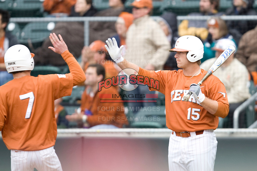 Russell Moldenhauer of the Texas Lonhorns against the Stanford Cardinal at  UFCU Disch-Falk Field in Austin, Texas on Friday February 26th, 2100.  (Photo by Andrew Woolley / Four Seam Images)