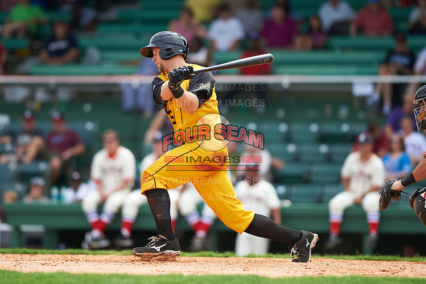 Jacksonville Suns first baseman David Adams (35) at bat during the 20th Annual Rickwood Classic Game against the Birmingham Barons on May 27, 2015 at Rickwood Field in Birmingham, Alabama.  Jacksonville defeated Birmingham by the score of 8-2 at the countries oldest ballpark, Rickwood opened in 1910 and has been most notably the home of the Birmingham Barons of the Southern League and Birmingham Black Barons of the Negro League.  (Mike Janes/Four Seam Images)