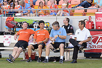 Houston, TX - Sunday June 19, 2016: Houston Dash Bench prior to a regular season National Women's Soccer League (NWSL) match between the Houston Dash and FC Kansas City at BBVA Compass Stadium.