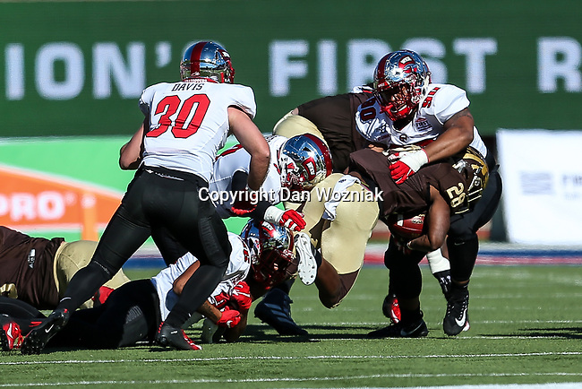 Western Michigan Broncos running back Sean Tyler (28) in action during the Servpro First Responder Bowl game between Western Michigan Broncos and the Western Kentucky Hilltoppers at the gerald Ford Stadiuml Stadium in Dallas, Texas.