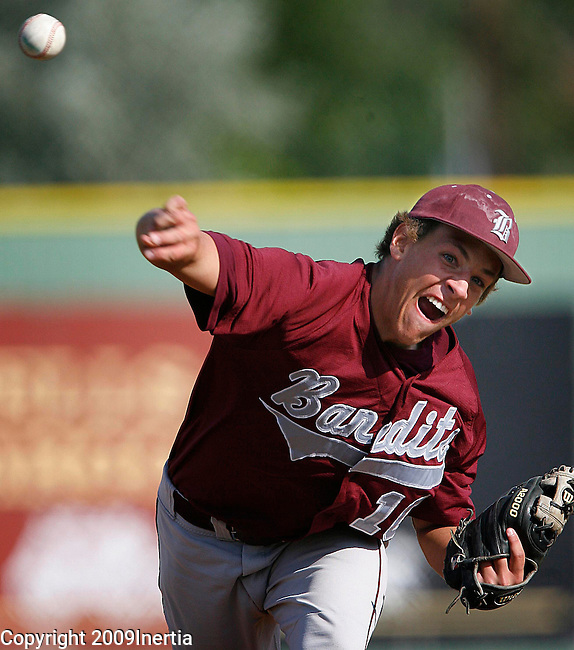 RAPID CITY, SD -- JULY 31, 2009 -- Matt Thomas of Brookings throws early against Mitchell at the 2009 South Dakota State Legion Baseball Tournament at Floyd Fitzgerald Stadium in Rapid City Friday. (Photo by Dick Carlson/Inertia)