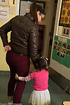 Education Preschool child care toddler 2s mother leaving daughter at start of day