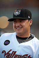 Tri-City ValleyCats pitcher Riley Cabral (37) during a game against the Vermont Lake Monsters on June 16, 2018 at Joseph L. Bruno Stadium in Troy, New York.  Vermont defeated Tri-City 6-2.  (Mike Janes/Four Seam Images)