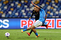 Hirving Lozano of SSC Napoli scores the goal of  4-0 during the Serie A football match between SSC Napoli and Genoa CFC at San Paolo stadium in Napoli (Italy), September 27th, 2020. Photo Cesare Purini / Insidefoto