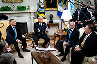 United States President Donald J. Trump and Polish President†Andrzej Duda during a bilateral meeting in the Oval Office of the White House in Washington, DC on June 24, 2020. From left to right: President Duda, President Trump, US Vice President Mike Pence, US Secretary of State Mike Pompeo.<br /> Credit: Erin Schaff / Pool via CNP/AdMedia