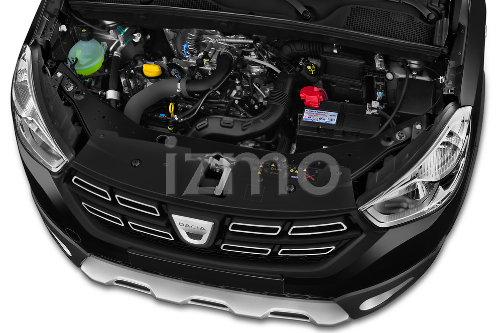 Car stock 2017 Dacia Dokker Stepway SL Explorer 5 Door Mini Van engine high angle detail view