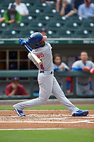 Jonathan Davis (1) of the Buffalo Bisons follows through on his swing against the Caballeros de Charlotte at BB&T BallPark on July 23, 2019 in Charlotte, North Carolina. The Bisons defeated the Caballeros 8-1. (Brian Westerholt/Four Seam Images)
