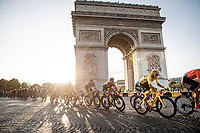 yellow jersey / GC leader Egan Bernal (COL/Ineos) around the Arc de Triomphe on the Champs-Élysées<br /> <br /> Stage 21: Rambouillet to Paris (128km)<br /> 106th Tour de France 2019 (2.UWT)<br /> <br /> ©kramon