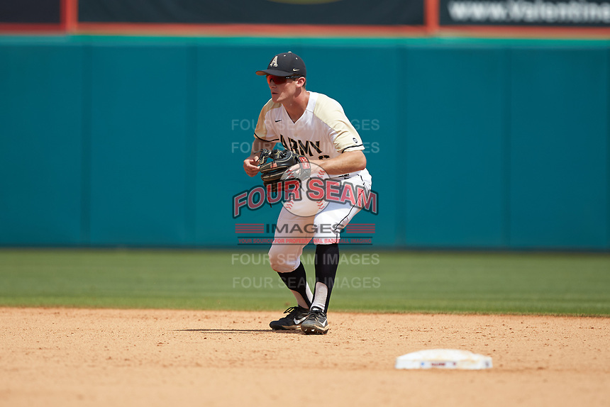 Army Black Knights shortstop Trey Martin (6) on defense against the North Carolina State Wolfpack at Doak Field at Dail Park on June 3, 2018 in Raleigh, North Carolina. The Wolfpack defeated the Black Knights 11-1. (Brian Westerholt/Four Seam Images)