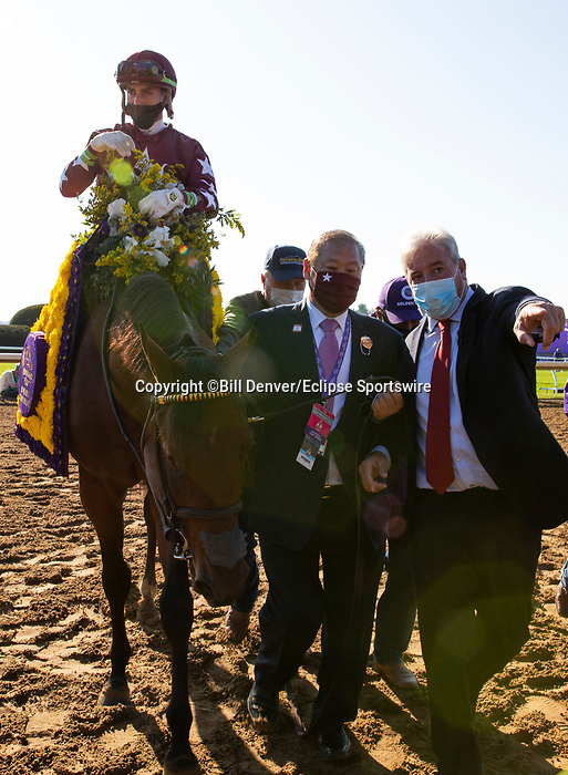 November 6, 2020: Connections for Golden Pal, winner of the Juvenile Turf Sprint on Breeders' Cup Championship Friday at Keeneland on November 6, 2020: in Lexington, Kentucky. Bill Denver/Breeders' Cup/Eclipse Sportswire/CSM