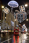 Great Britain, London: Christmas shopping and lights along Oxford Street