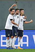 Francesco Caputo of Italia celebrates after scoring the 2-0 goal, with El Shaarawy and Bonaventura, during the friendly football match between Italy and Moldova at Artemio Franchi Stadium in Firenze (Italy), October, 7th 2020. Photo Andrea Staccioli/ Insidefoto