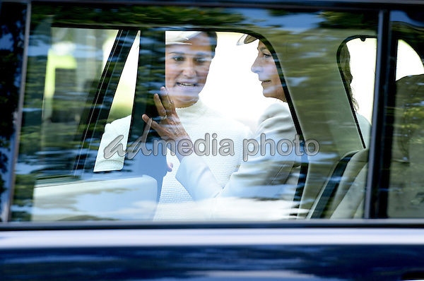 05 July 2015 - King's Lynn, United Kingdom - Pippa Philippa Middleton and Carole Middleton. The Christening of Princess Charlotte of Cambridge at the Church of St Mary Magdalene on the Sandringham Estate. Photo Credit: Alpha Press/AdMedia