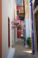 The winding back streets of Kastellorizo, Greece