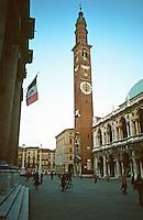 Vicenza:  XII Century Tower in Piazza Dei Signori.  Palladio's Basilica on right.  Photo '83.