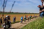 Leading group at the 3 star cobblestone sector 25 from Saint-Hilaire to Saint-Vaast during the 2018 Paris-Roubaix race, France, 8 April 2018, Photo by Thomas van Bracht / PelotonPhotos.com | All photos usage must carry mandatory copyright credit (Peloton Photos | Thomas van Bracht)