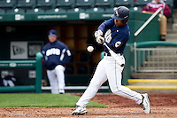 Chris Elder (12) of the Oral Roberts Golden Eagles makes contact on a pitch during a game against the Missouri State Bears on March 27, 2011 at Hammons Field in Springfield, Missouri.  Photo By David Welker/Four Seam Images
