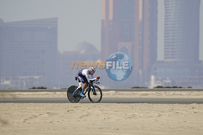 Omer Goldstein (ISR) Israel Start-Up Nation during Stage 2 of the 2021 UAE Tour an individual time trial running 13km around  Al Hudayriyat Island, Abu Dhabi, UAE. 22nd February 2021.  <br /> Picture: Eoin Clarke   Cyclefile<br /> <br /> All photos usage must carry mandatory copyright credit (© Cyclefile   Eoin Clarke)