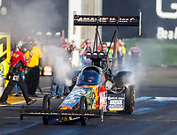 Jul 28, 2017; Sonoma, CA, USA; NHRA top fuel driver Terry McMillen during qualifying for the Sonoma Nationals at Sonoma Raceway. Mandatory Credit: Mark J. Rebilas-USA TODAY Sports