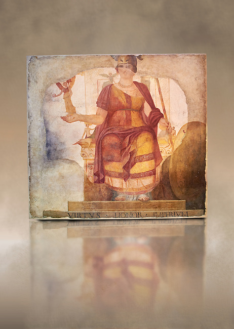 """Fresco of Venus sitting restored as Roma  known as the """"Dea Barberini"""" (""""Barberini goddess""""), dating from the first quarter of the fourth century. A.D, excavated near to Baptistery of St. John Lateran , Rome Museo Nazionale Romano ( National Roman Museum), Rome, Italy. Against an art background."""