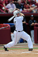 Designated hitter Matt Parrish (7) of the Campbell Camels in an NCAA Division I Baseball Regional Tournament game against the South Carolina Gamecocks on Sunday, June 1, 2014, at Carolina Stadium in Columbia, South Carolina. (Tom Priddy/Four Seam Images)