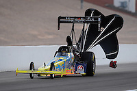 Nov. 1, 2008; Las Vegas, NV, USA: NHRA top fuel dragster driver Clay Millican during qualifying for the Las Vegas Nationals at The Strip in Las Vegas. Mandatory Credit: Mark J. Rebilas-