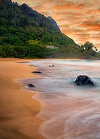 Tunnels Beach and Bali Hai at low tide. Kauai, Hawaii