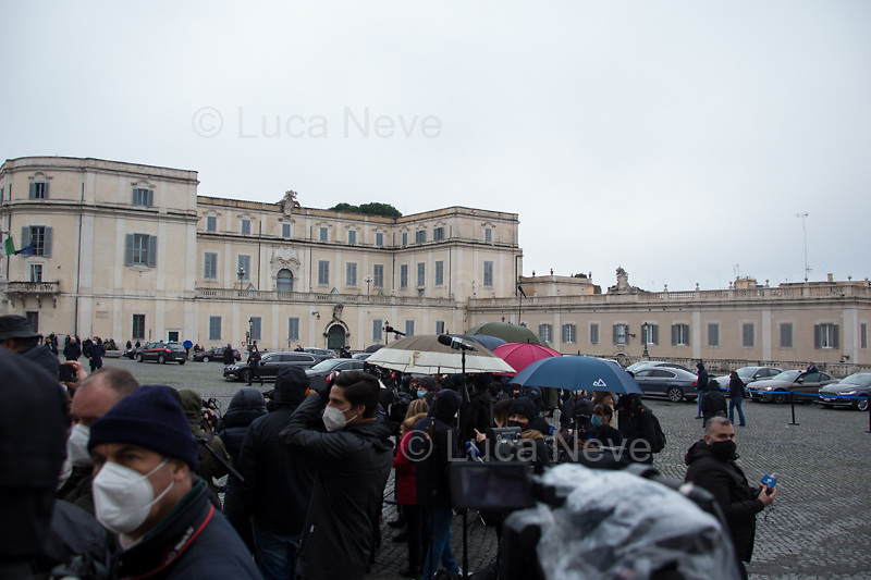 Rome, Italy. 13th Feb, 2021. The new Italian Government, led by Professor and former President of the ECB - European Central Bank - Mario Draghi, leaves the Palazzo del Quirinale (Quirinale Palace) after swearing in front of the President of the Italian Republic, Sergio Mattarella. This is the 67th Government of Italy.<br />