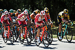 The peloton in action during Stage 2 of Criterium du Dauphine 2020, running 135km from Vienne to Col de Porte, France. 13th August 2020.<br /> Picture: ASO/Alex Broadway   Cyclefile<br /> All photos usage must carry mandatory copyright credit (© Cyclefile   ASO/Alex Broadway)