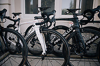 As the the stage start is only a few 100 meters away, the (team SKY) rider's bikes are stalled in the team hotel entrance; out of their rooms & onto their bikes... <br /> Colombian champion Sergio Henao's (COL/SKY) bike is the odd one out<br /> <br /> 104th Tour de France 2017<br /> Stage 5 - Vittel › La Planche des Belles Filles (160km)