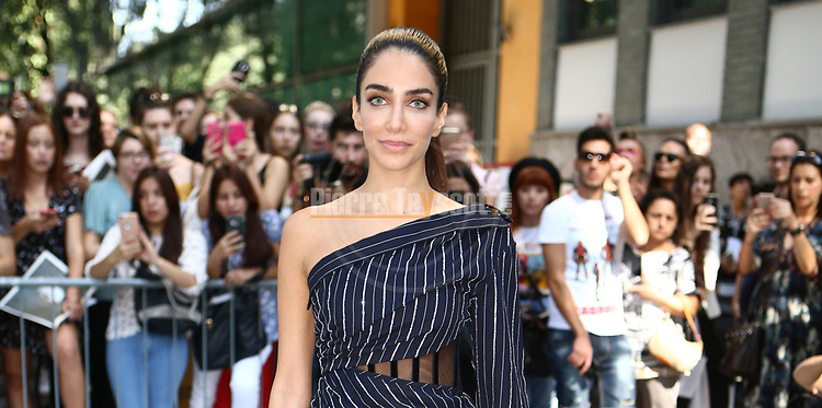 Jessica Kahawaty arrival at the Giorgio Armani during the Milan's Fashion Week Women's wear Spring Summer 2019, in Milan, Italy, on September 23, 2018.